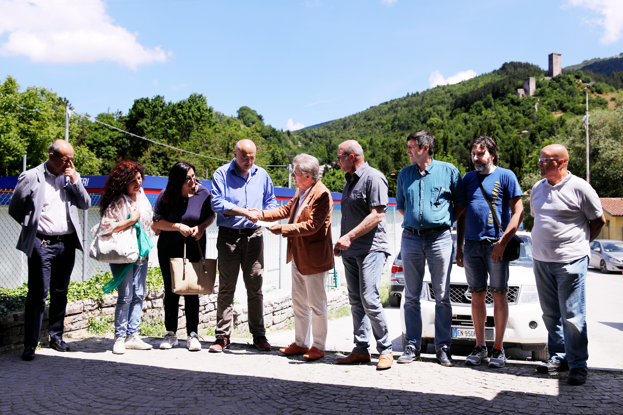 il Presidente Adolfo Guzzini, il dirigente Angelo Camilletti e una delegazione della Rsu aziendale