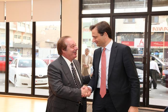 General Manager of iGuzzini Middle East, Mr. Paolo Guzzini welcoming the Italian Ambassador Mr. Domenico Bellato.