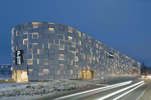 The car park becomes a bright urban landmark